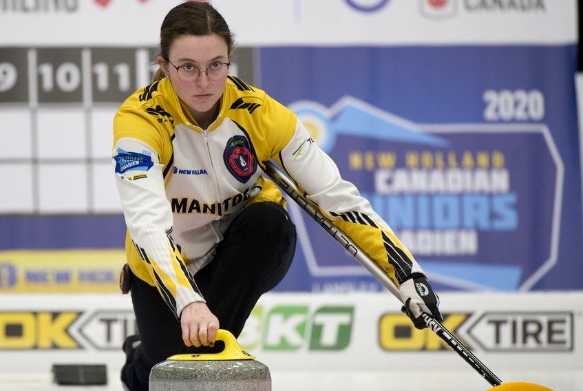 Lead Lauren Lenentine of New Dominion makes a shot for Manitoba during the 2020 New Holland Canadian junior curling championships in Langley, B.C., last week. Curling Canada/Michael Burns