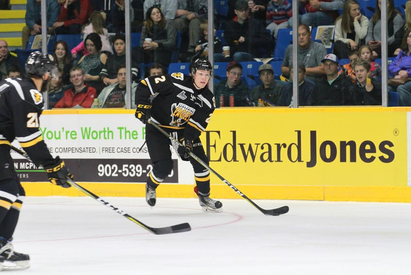 The Cape Breton Screaming Eagles traded defenceman Alexis Sansfaçon, right, to the Blainville-Boisbriand Armada, Friday. In return, the team received a third-round draft pick in the 2020 Quebec Major Junior Hockey League Entry Draft -