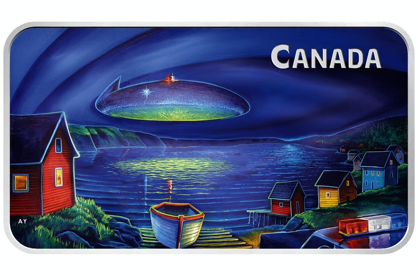 This new collectible coin from the Royal Canadian Mint re-creates the legend of the 1978 UFO sighting over Clarenville, NL.