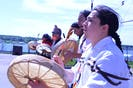 Hand drummers led the procession at the Membertou Men's Society's Walk for Justice in Sydney on Wednesday. More than 100 people took part in the event. OSCAR BAKER III/CAPE BRETON POST