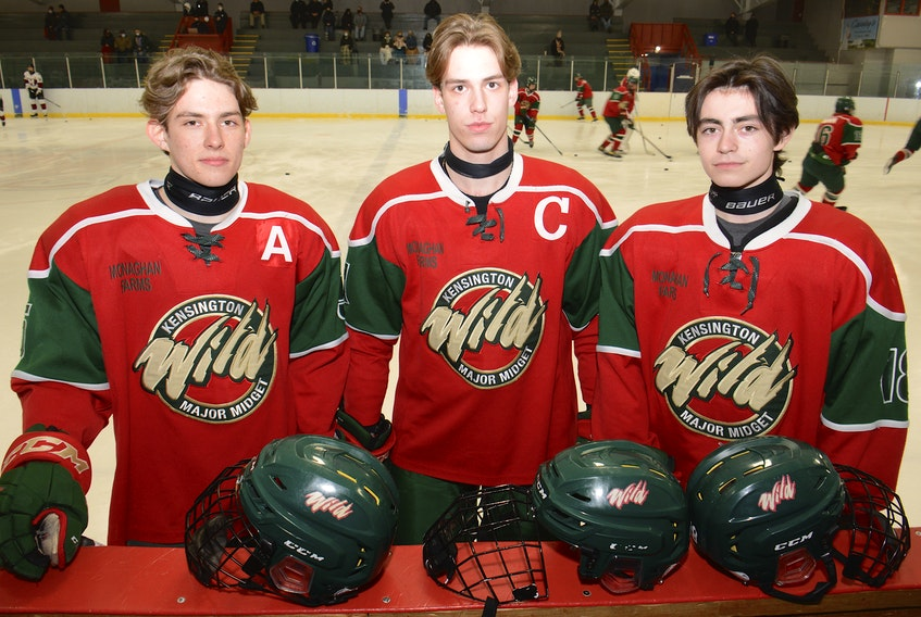 The Kensington Monaghan Farms Wild is looking forward to the Prince Edward Island major under-18 hockey championship series that begins on Saturday. From left are Crosby Andrews, Alex Graham and Brennan Murphy.