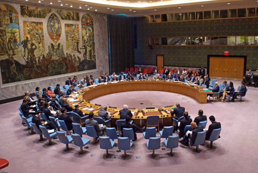 A United Nations Security Council emergency meeting regarding Syria, in September 2016.