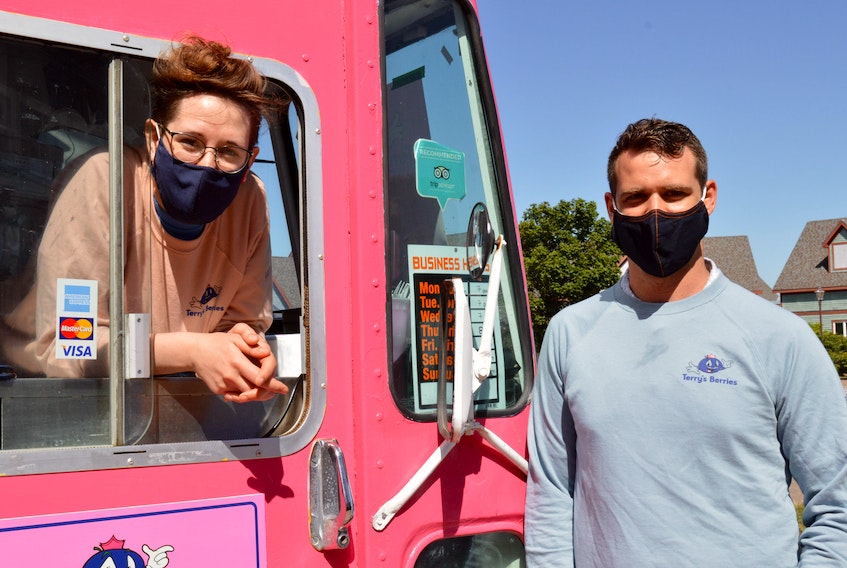 Chef Lucy Morrow pops out of the Terry's Berries food truck window for a chat with owner Terry Nabuurs.