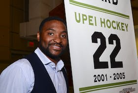 Joel Ward played hockey for the UPEI Panthers from 2001-02 to 2004-05 and had a banner with his name and jersey number on it raised at MacLauchlan Arena in 2016.