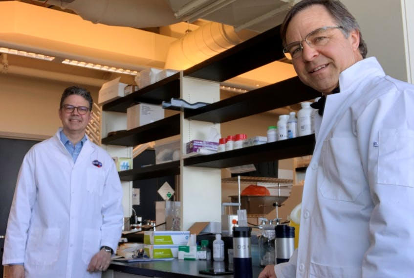 Bill Whelan, left, and co-lead Andrew Trivett were awarded a grant from the Canadian Institutes of Health Research to develop a rapid, on-site test for coronavirus (COVID-19 strain).