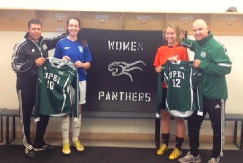 The UPEI women's soccer team has added two new players to its roster. From left are head coach Graeme McDonald, Danielle Younker, Jennifer Balderston and assistant coach Glenn Smiley.