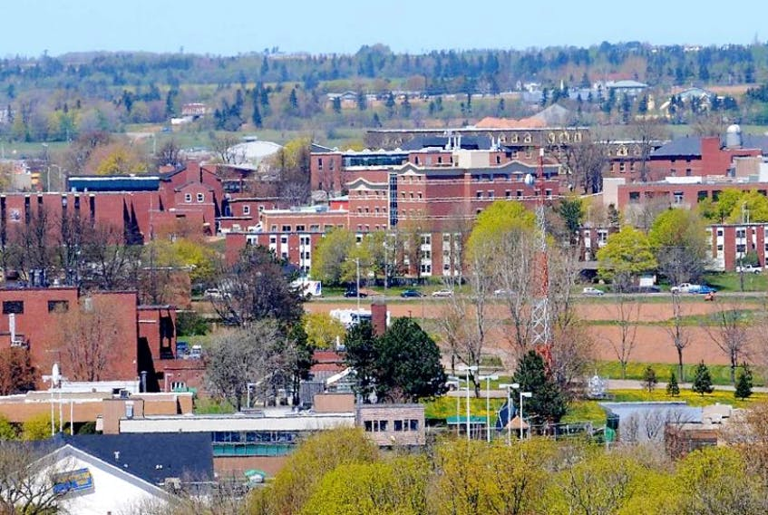 An aerial view of UPEI.
