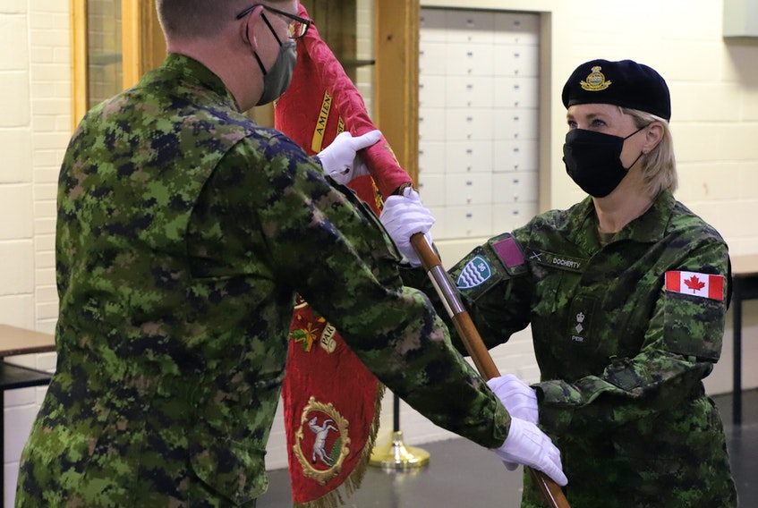 Former provincial cabinet minister Valerie Docherty, right, shown accepting the regimental guidon from P.E.I. Regiment commanding officer, Lt.-Col. Glenn Moriarity, has been named the first female honorary lieutenant-colonel of the P.E.I. Regiment. Docherty becomes the 10th person to hold the post since the regiment was formed at the end of the Second World War. The eldest son of Valerie and her husband Alex was a member of the Canadian Armed Forces for 13 years. As an honourary member of the regiment, Docherty is a guardian of the regimental traditions and history and will serve as an ambassador. She will attend significant military and public events and be responsible for fostering spirit and developing strong community support for the unit. Honorary appointments, which generally run three years, are approved by the minister of National Defence after receiving recommendations through the chain of command. Contributed