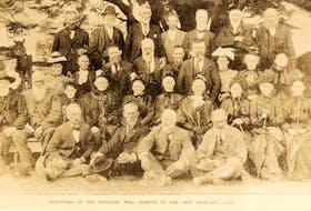 Settlers of the Highland Lass in 1890 are shown. In back, from the left, are J. McKay, D. McKay, W. McDonald, Dan McKay 'Ban', K. McDonald, D.H. McKenzie, K. Stewart. Third row, from the left, are Miss J. McKenzie, Miss C. McKay, Mrs. J.W. Durham, A. MacKay, N. McKenzie, W. McLennan, J.R. MacKay, Miss E. McKay, Mrs. Webster, Mrs. R. Campbell. Second row, from the left, are R: H. McKenzie, R. Finlayson, Mrs. P.H. McKay, Mrs. Anderson, Mrs. Sheddon, Mrs. W. McKenzie, Mrs. D. McKenzie, Mrs. J. Finlayson, Mrs. D. McLeod, Mrs. M. McAulay. In front row, left to right, are D. McKay, Capt. J. McKenzie, J. McLean, D. Stewart. Courtesy - Beaton Institute, Cape Breton University.