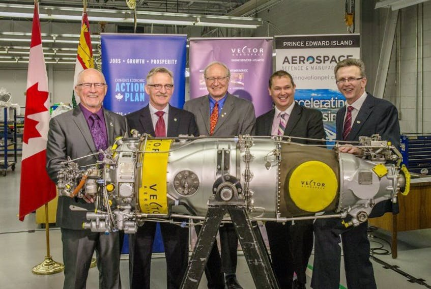 <p>From left are, Arnold Croken, General Manager of the Summerside Regional Development Corporation; Gerald Keddy, Parliamentary Secretary to the Minister of Agriculture, to the Minister of National Revenue and for the Atlantic Canada Opportunities Agency; The Honourable Wade MacLauchlan, Premier of Prince Edward Island; Jeff Poirier, President of Vector Aerospace Engine Services - Atlantic; and Shawn McCarvill, President of Slemon Park Corporation.</p>