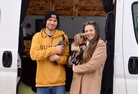 Bradford Hortie and Chelsey DeBay, with Yorkies Dexter and Jasper, built a tiny home out of a van and spent last summer and fall travelling the Maritimes.