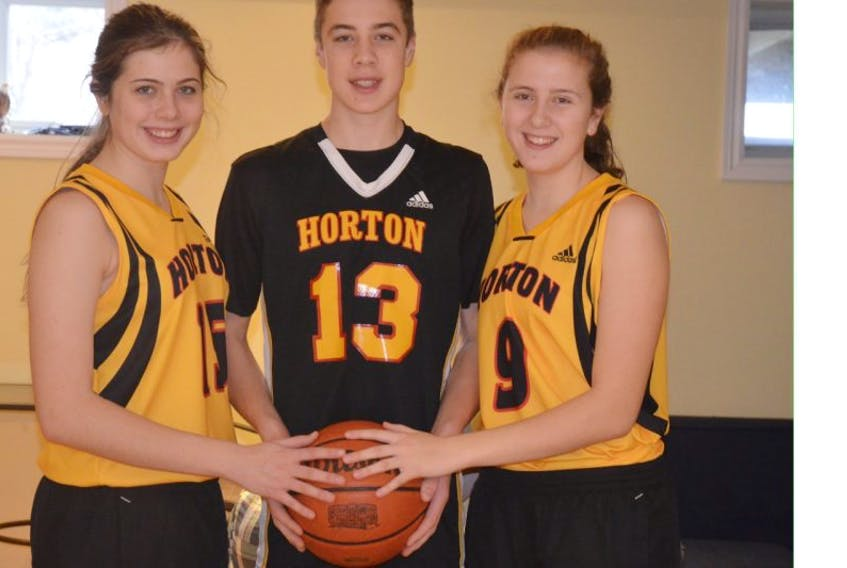 The Veinots of Port Williams are a real basketball family. Jennika, left, in Grade 12, and twins Keevan and Jayda, in Grade 10, have all played, and continue to play, key roles on whichever team they play. Currently, all three are playing D-1 basketball at Horton.