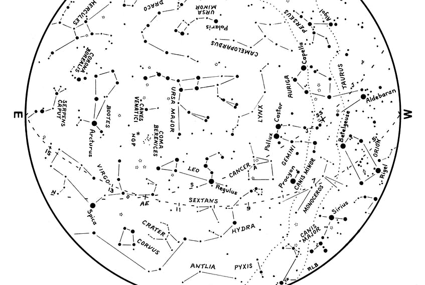 """This March break, why not get do some star gazing and find constellations only visible in the winter? Astronomist Roy Bishop sketched a map of the March sky which can be used by pointing the centre of the map directly overhead. The compass directions around the edge correspond to the point on the horizon the observer is facing. You will be able to locate the """"Winter Big G"""" on the western side of the map. ROY BISHOP PHOTO"""