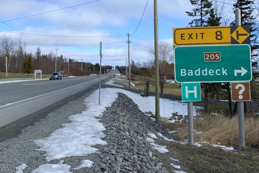 A vehicle approaches the Irving gas station on Highway 105 by Exit 8 near Baddeck on Monday. Municipality of Victoria County is asking the province to reduce the speed limit from 80 km/h to 60 km/h following a fatal accident in the area last month. JEREMY FRASER/CAPE BRETON POST