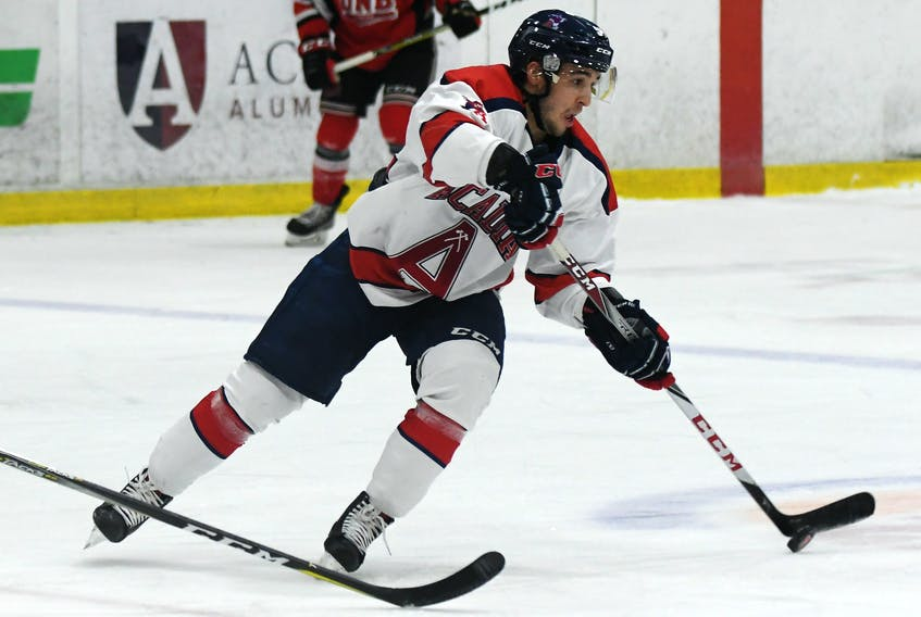 After a successful career in the Quebec Major Junior Hockey League, Kyle Farrell was recruited to play with Acadia University in the Atlantic University Sport. He spent four years with the Wolfville-based Axemen and played in the University Cup in 2018. Concussion issues have forced his retirement from hockey. CONTRIBUTED