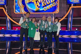 The Samson family from Little Bras d'Or travelled to Toronto to tape their appearance on Family Feud Canada earlier this week. The family is shown during a visit to the set in December, but the taping got postponed. From left are Yoshi Kitamura, his wife Holly (Samson) Kitamura, Harold Samson, Liz Samson and Megan Samson. CONTRIBUTED