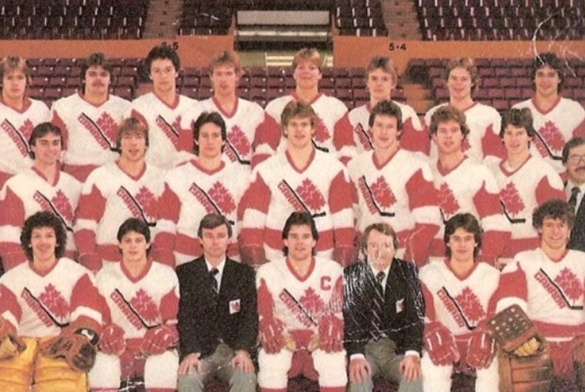 Paul Boutilier of Sydney was among the Canadian national junior team who captured the countries first gold medal at the World Junior Hockey Championship in 1982 in Rochester, Minnesota. Members of the team are shown. Front row, from left, Frank Caprice, Mark Morrison, Dave King (head coach), Troy Murray, Bob Strumm (general manager), Pierre Rioux, and Mike Moffatt. Middle row, from left, Craig Gattinger (trainer), Paul Boutilier, Mike Moller, Scott Arniel, Gary Nylund, Gord Kluzack, Randy Moller, James Patrick and Bill Stefaniuk, (equipment manager). Back Row, from left, Paul Cyr, Garth Butcher, Todd Strueby, Dave Morrison, Carey Wilson, Marc Habscheid, Bruce Eakin, Moe Lemay. Missing from the photo is Sherry Bassin (assistant coach), Georges Leriviere (assistant coach) and Jim George (special advisor). PHOTO SUBMITTED.
