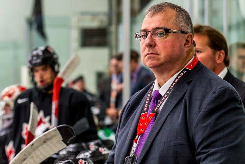 In this photo, Paul Boutilier of Sydney is shown coaching during the World Under-17 Hockey Challenge in 2017. He was the head coach of Team Canada Black for the tournament. PHOTO/HOCKEY CANADA
