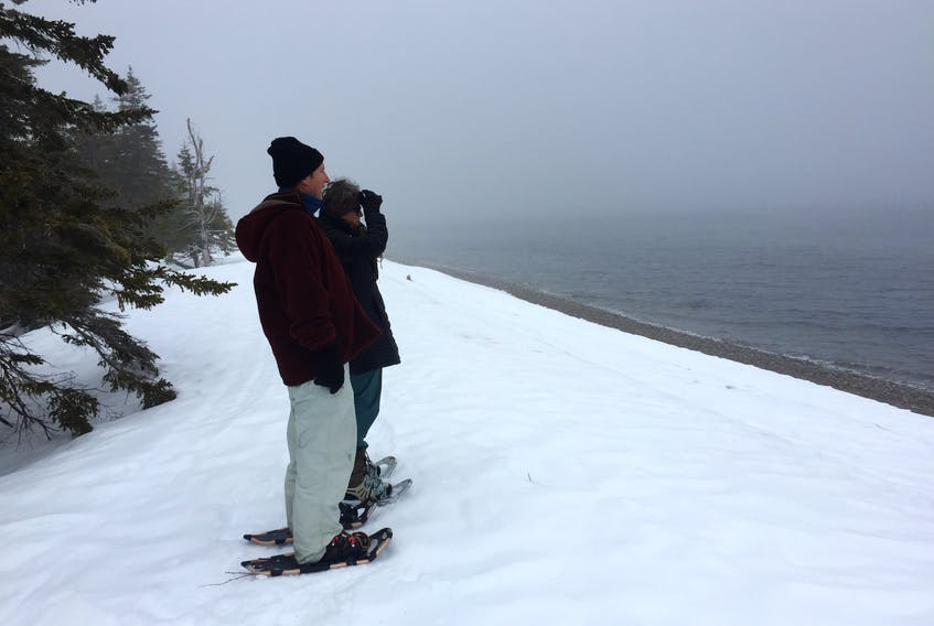 Barbara and Paul Weinberg, owners of Cabot Shores Wilderness Resort and Retreat Centre, take a moment to enjoy the fog over St. Ann's Bay, during a snowshoe hike along the Red Island trail near Indian Brook. Guided snowshoe hikes are one of the experiences the Weinbergs offer at Cabot Shores and they say they're seeing an increase in bookings during the winter months. NIKKI SULLIVAN/CAPE BRETON POST