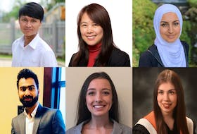 There are six finalists for the Hire Me Cape Breton Pitch Competition. From left, bottom, Chandrayog Yadav, Rachel Leck, Kelly MacIsaac; top, Brian Dang, Tham Le, Ayha El-Darahali. CONTRIBUTED