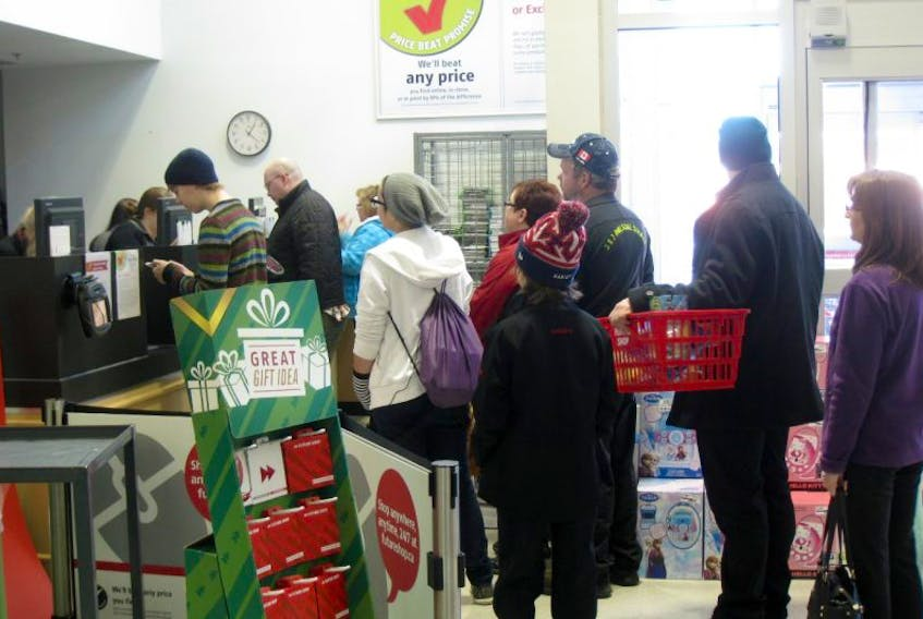 There was a lineup at the check out at Future Shop in New Minas.