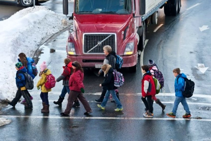 Halifax students walking to school last winter.