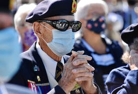 96-year-old Second World War veteran Roland Bouque sits masked during a Sept. 12 ceremony in Yarmouth County, organized by the Wedgeport Legion Branch 155 to recognize the 75th anniversaries of the Liberation of the Netherlands and VE-Day, which were marked in May. COVID-19 restrictions at the time didn't allow the Legion to properly recognize these anniversaries or their veteran members. TINA COMEAU PHOTO