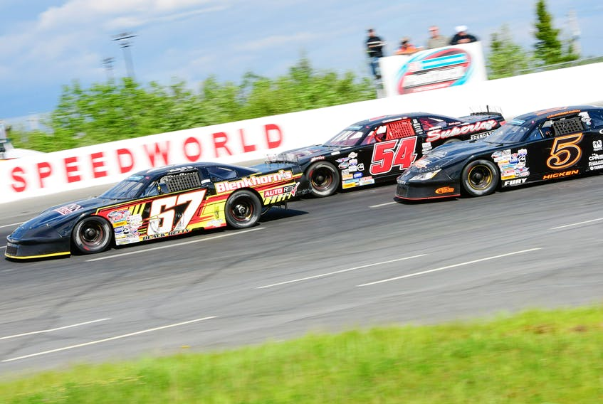 Dylan Blenkhorn (67) brings it home at the Nova Truck Centres Make-A-Wish 150 last weekend at Scotia Speedworld. Blenkhorn won for the second time this season and will be in search for his third victory this weekend on P.E.I. Mike McCarthy photo