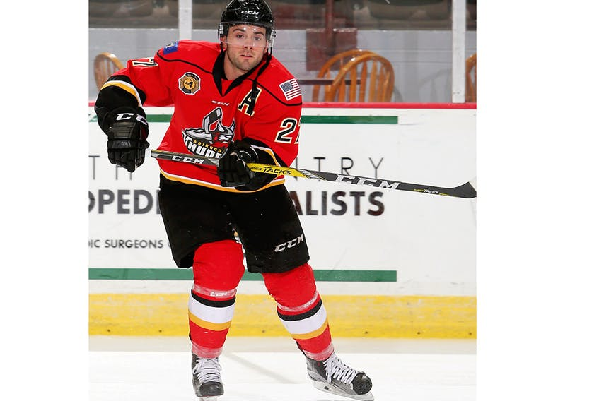 Forward Dana Fraser is shown in professional hockey in 2015 with the Adirondack Thunder.