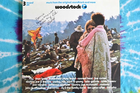 """A live album of """"Woodstock: Music from the Original Soundtrack and More"""" features who many say is couple Bobbi and Nick Ercoline on the cover is seen on August 16, 2019 in Bethel, New York."""