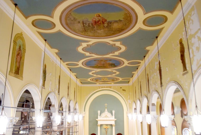 Work is being done at Saint Ninian Cathedral Church in Antigonish, including the restoration of the Twelve Apostles, some of which can be seen here on the walls.