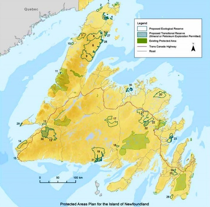 The WERAC report highlights 32 proposed protected areas on the island portion of the province. - Contributed