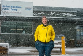 Elinor Crosby, Halifax Pubic Libraries' manager of programming and community engagement for the western district, poses for a photo in front of the temporarily closed Keshen Goodman library on Tuesday. Ryan Taplin - The Chronicle Herald