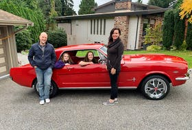 Anton, Sofia, Mercedes and Rebecca Schweighofer with the 1966 Mustang owned and driven regularly by 18-year-old Mercedes. Alyn Edwards Photo
