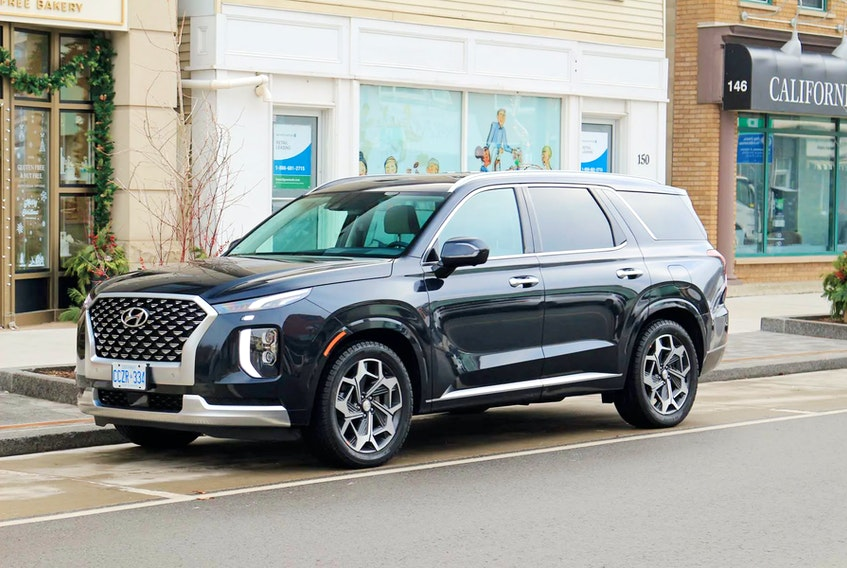 The level of standard content in the 2021 Hyundai Palisade rivals some much higher-end luxury rides. Graeme Fletcher/Driving