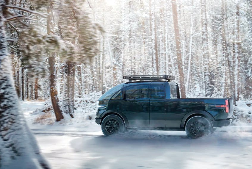Fledgling automaker Canoo is making headlines with its funky electrified pickup, despite its odd shape and suspicious origins. Handout/Canoo