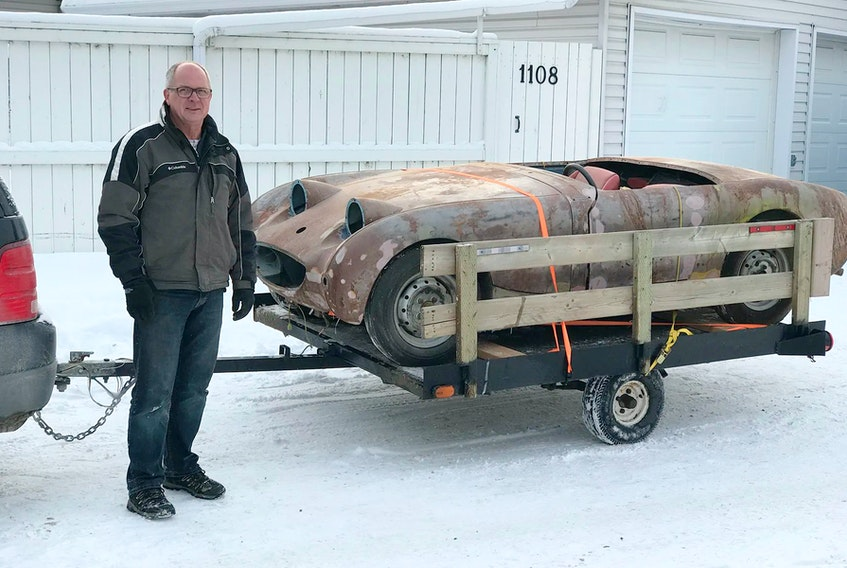 Ian Cassley of Calgary brought home his 1959 Austin-Healey Sprite on a small 6x8-foot utility trailer.  Contributed/Ian Cassley