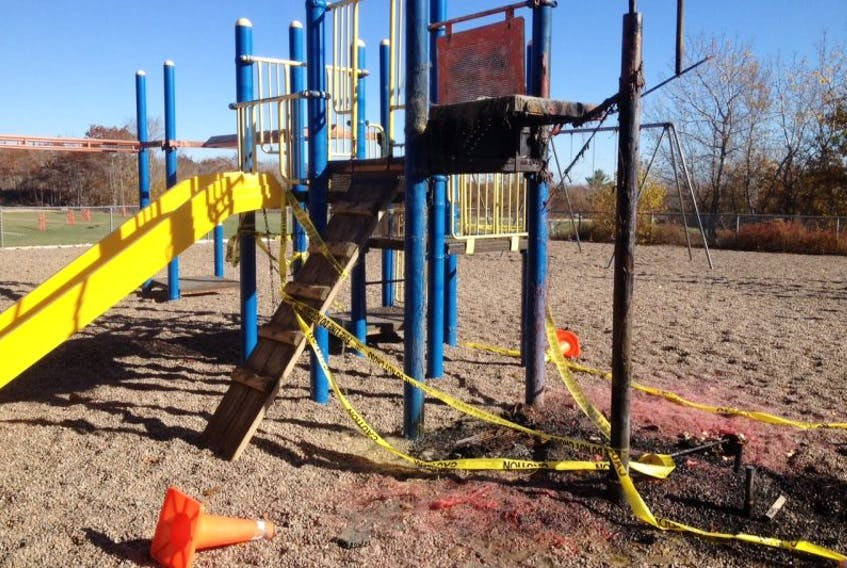 Playground equipment was vandalized over Halloween weekend at a Liverpool elementary school