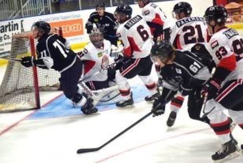 The Wildcats turn on the pressure in front of Pictou County's net Sept. 10 in the first regular season game Sept. 10.