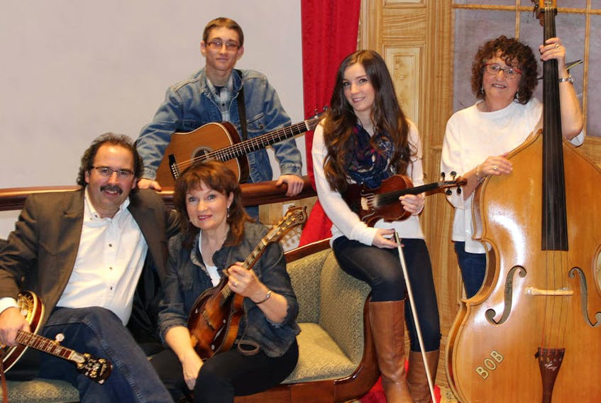 """Janet McGarry, second left, and the Down Home Christmas Band are looking forward to presenting four concerts in the """"Down Home Christmas"""" concert series. From left are Serge Bernard, McGarry, Dylan Ferguson, Denise MacLeod and Gail Mullen. SUBMITTED PHOTO"""