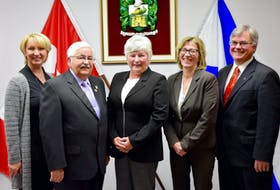"""<p lang=""""en-US"""">The newly sworn in Windsor town council pose for a photo following the ceremony on Oct. 25, 2016. Pictured are, from left, Laurie Murley, John Bregante, Mayor Anna Allen, Shelley Bibby, and Jim Ivey.</p>"""