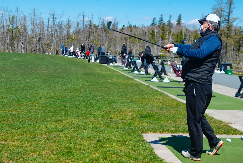 Geoff Hurley hits a shot at the Links at Brunello driving range on Thursday, May 14, 2020. Ryan Taplin - The Chronicle Herald