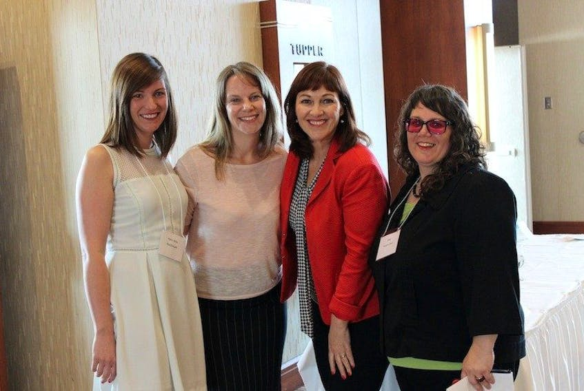 """<p><span class=""""BodyText"""">Guest speaker Maureen Henley, second right, chats with, from left, Kerry Anne MacDougall, Dawn Binns and Sara Roach-Lewis after the June business breakfast.</span></p>"""
