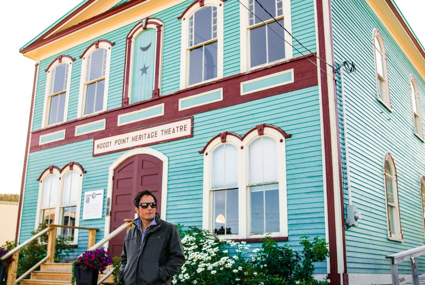 Jonny Harris outside the restored Woody Point Theatre in Woody Point, N.L. Courtesy of CBC