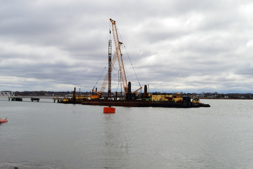 Work on the berth expansion at Port Charlottetown has resumed after an initial work stoppage due to the pandemic. Currently, only one ship can dock at a time, but this work will allow two 330-metre ships to dock simultaneously. A crane on a barge has been driving piles into the seabed so ships can tie up. There will be 43 of them. There will also be two mooring buoys to tie up the vessels further out and three breasting dolphins, which help berth the ships. Corryn Clemence, cruise development, communications and brand manager for Port Charlottetown, said some of the crew working on the project are from off-Island, but the work is deemed essential or approved construction to continue, adding that whatever screening or protocols public health has in place for these workers would have been followed. As for the cruise ship season, Clemence said with the announcements of cancellations from Holland America, Princess and Seabourn, as it stands now there are no ships due to arrive in Charlottetown until early September. Construction on the new berth should be completed this fall.
