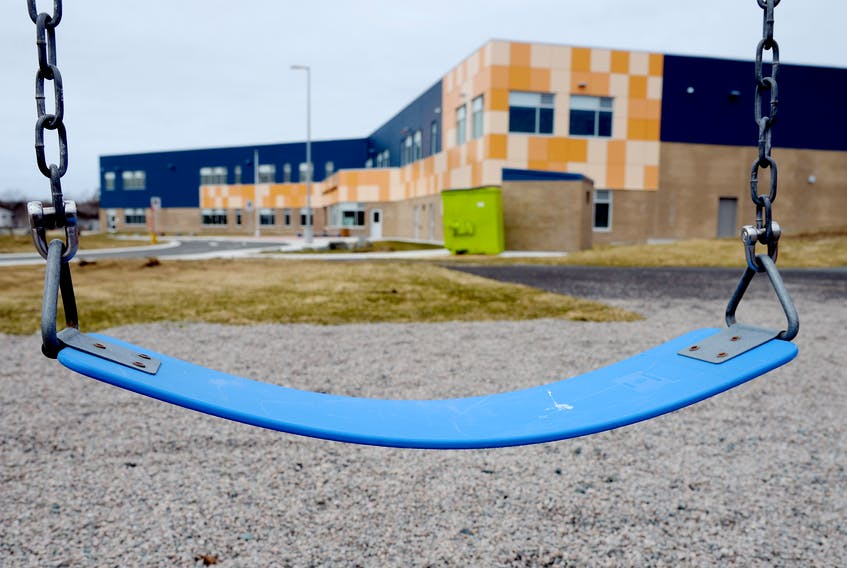 An empty swing sits unused near East Point Elementary on Middleton Street in the east end of St. John's Wednesday.  Keith Gosse/The Telegram