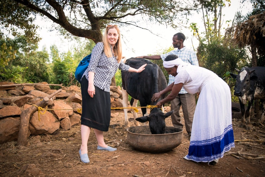 Paul Bettings photo  Corner Brook native Megan Radford (left) has been travelling and helping share humanitarian stories from around the world. Here, she is seen with family in Ethiopia.
