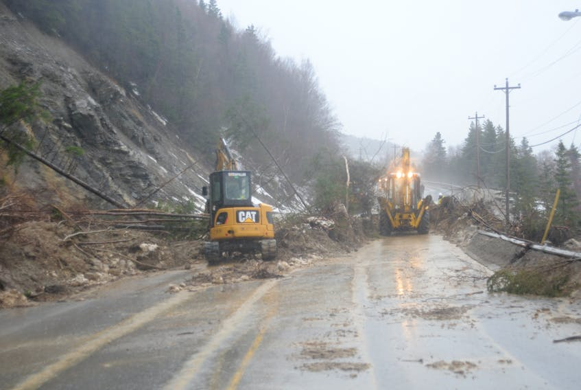 It has been a year since a landslide closed the highway to Benoit's Cove as shown in this file photo.