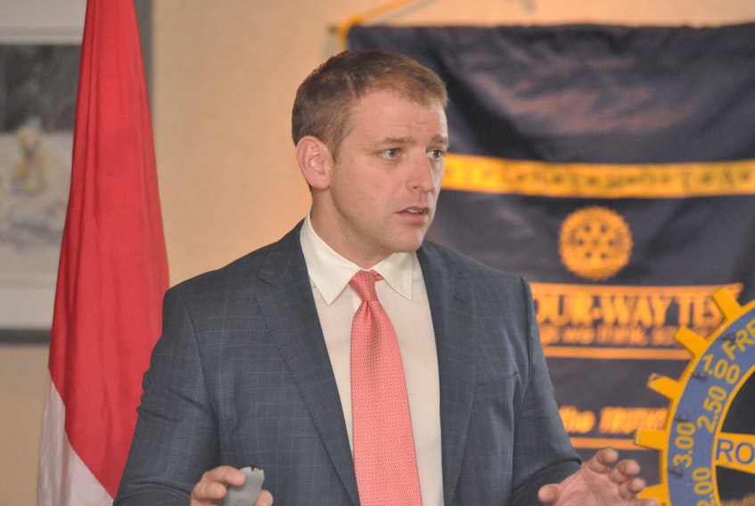 Dr. Andrew Furey, founder of Team Broken Earth, spoke about the organization and the work it does in a presentation to the Rotary Club of Corner Brook at the Greenwood Inn and Suites on Thursday.