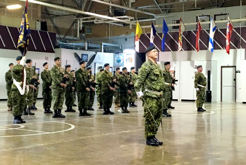 Lt.-Col. Mark Felix, centre, leads the Second Battalion of the Royal Newfoundland Regiment in parade after taking over as commanding officer at the Gallipoli Armoury in Corner Brook Saturday.